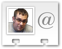Icon of a rolodex card with Kiel's face